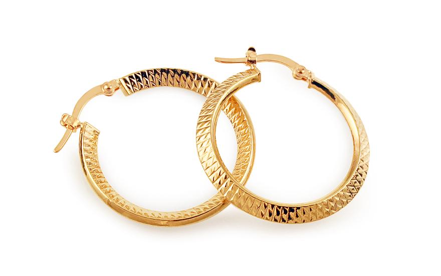 Zlaté náušnice kruhy s gravírováním 2,8 cm IZ11743
