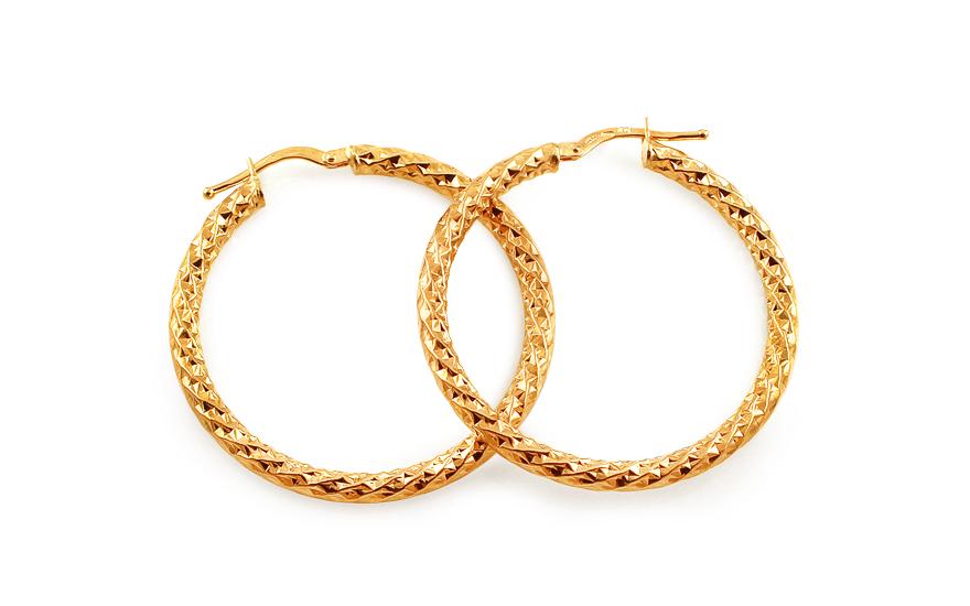 Zlaté náušnice kruhy s gravírováním 3,6 cm IZ13097