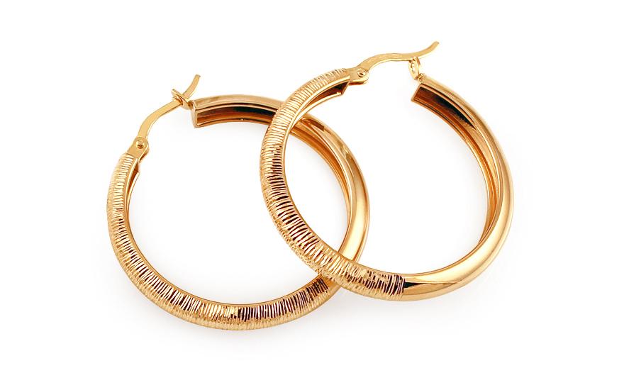 Zlaté náušnice kruhy s gravírováním 3 cm IZ11620