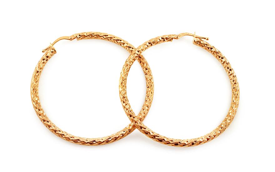 Zlaté náušnice kruhy s gravírováním 4,6 cm IZ13096
