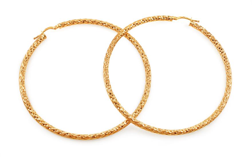 Zlaté náušnice kruhy s gravírováním 6,7cm IZ13095