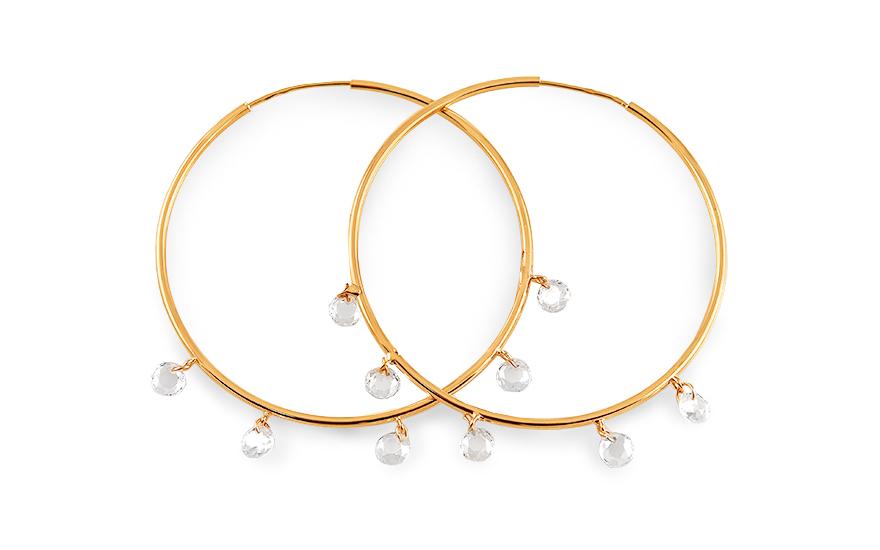 e2b0254ea Zlaté náušnice kruhy s kamínky, pro ženy (IZ16181) | iZlato24.cz