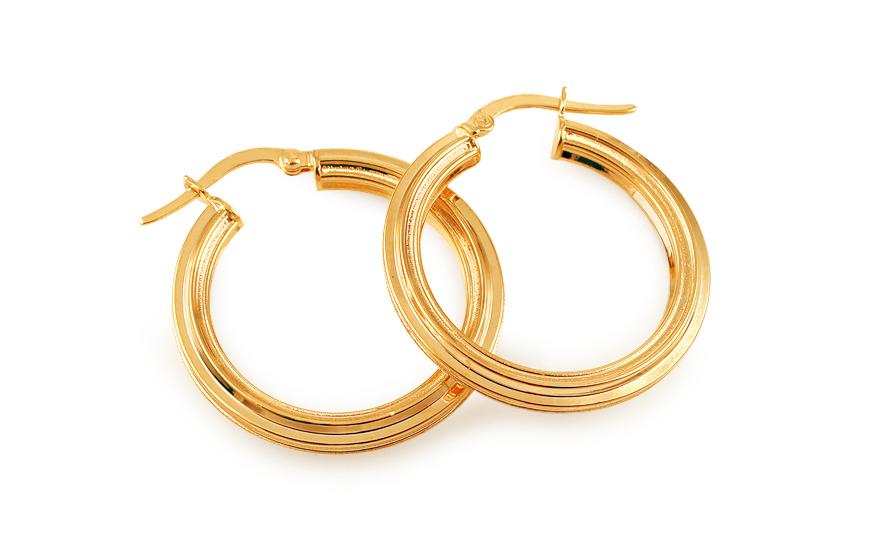 Zlaté náušnice kruhy s matováním 2,2 cm IZ11731