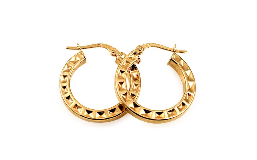 Zlaté náušnice kruhy s vybíjeným vzorem 2,2 cm IZ10307