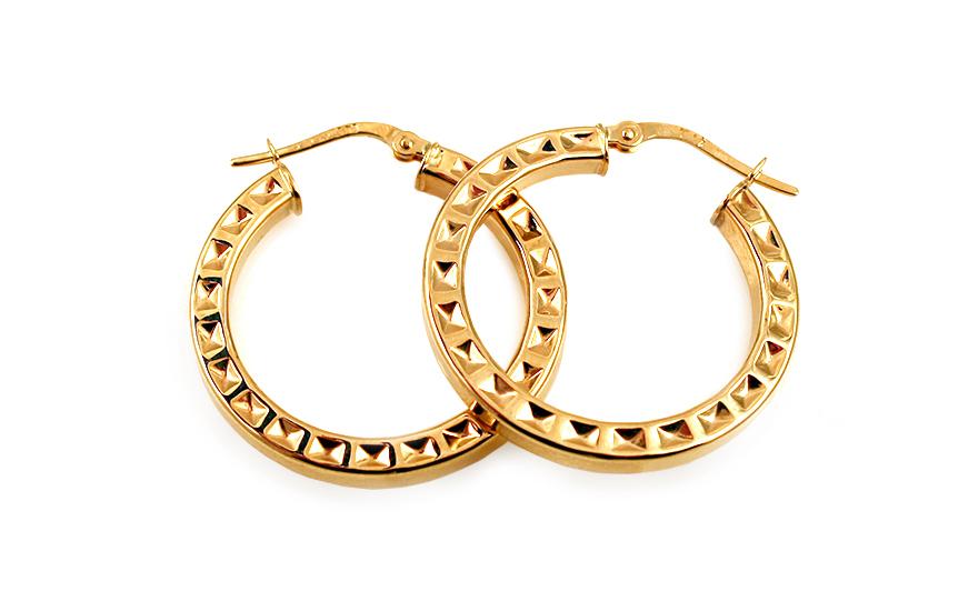 Zlaté náušnice kruhy s vybíjeným vzorem 2,7 cm IZ10308