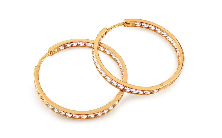 Zlaté náušnice kruhy se zirkony 2,9 cm IZ12448