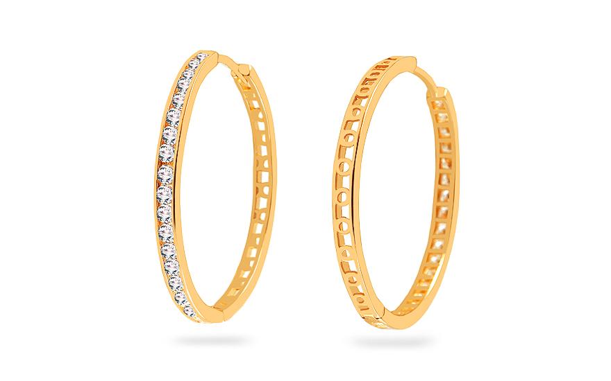 e28a5f118 Zlaté náušnice kruhy se zirkony 3 cm, pro ženy (IZ18965) | iZlato24.cz