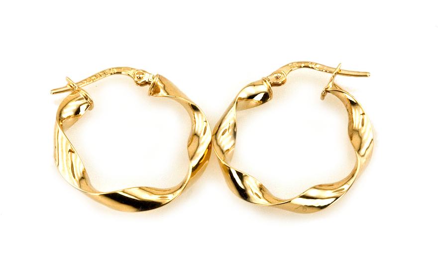 Zlaté náušnice kruhy Spiral 2,7 cm IZ4152