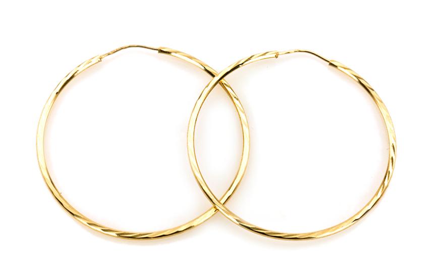Zlaté náušnice kruhy SPIRAL 5 cm IZ5016