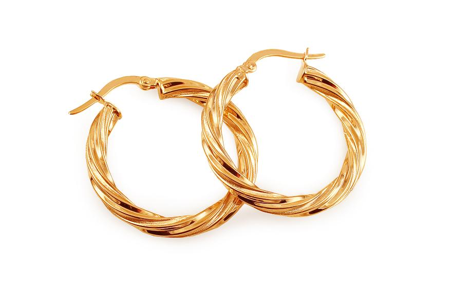 Zlaté náušnice kruhy točené 2,7 cm IZ11744