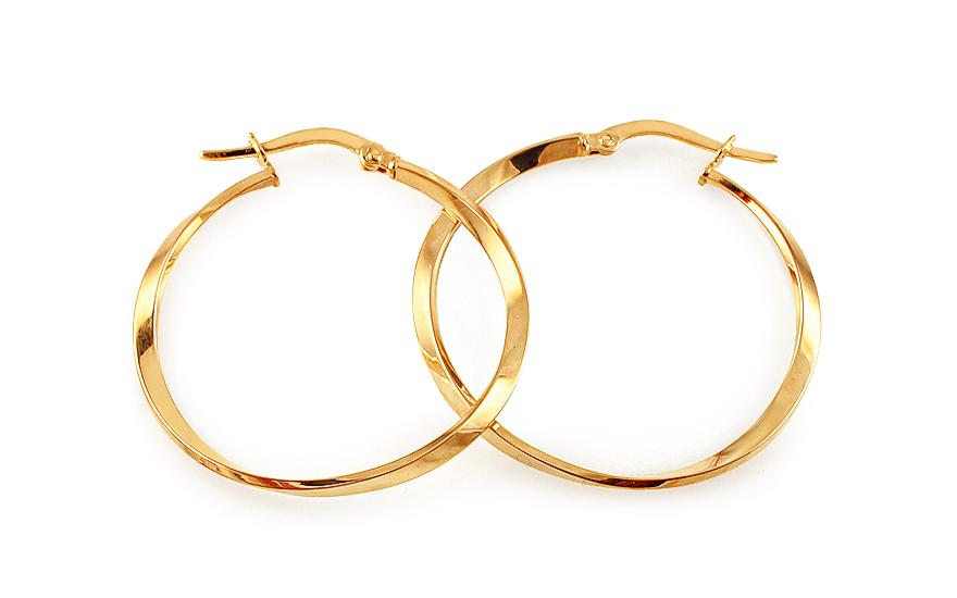 Zlaté náušnice kruhy točené 3,2 cm IZ11646