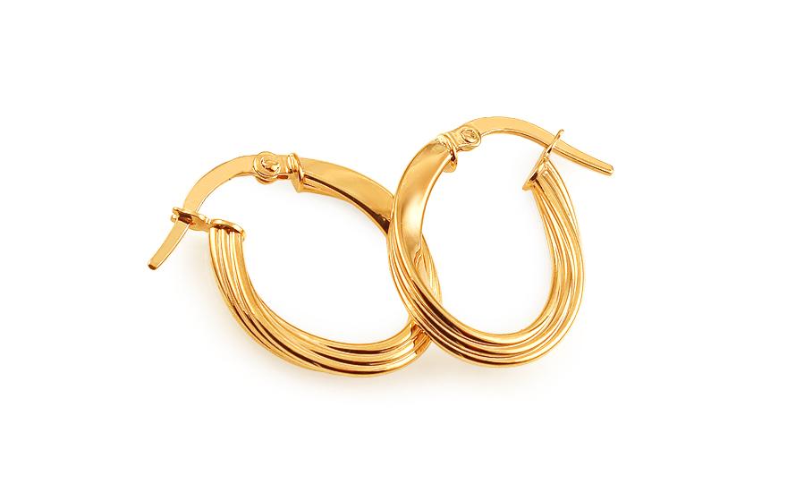Zlaté náušnice kruhy točené s gravírováním IZ11749