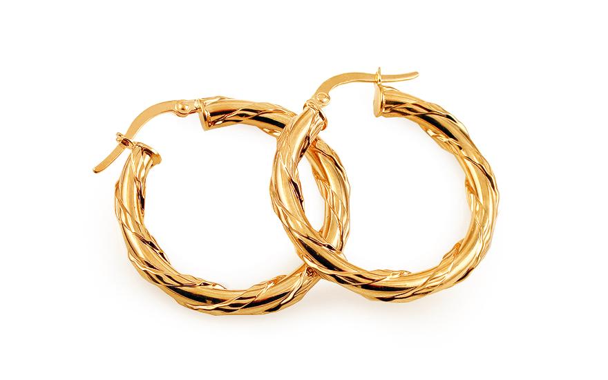 Zlaté náušnice kruhy točené s gravírováním 2,8 cm IZ11745