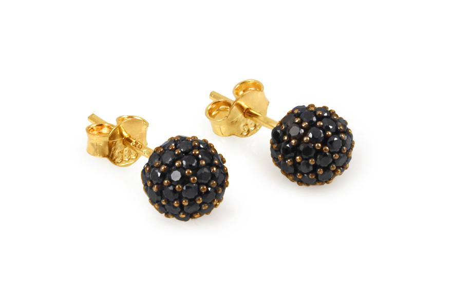 Zlaté náušnice kuličky s černými zirkony 7 mm IZ10400