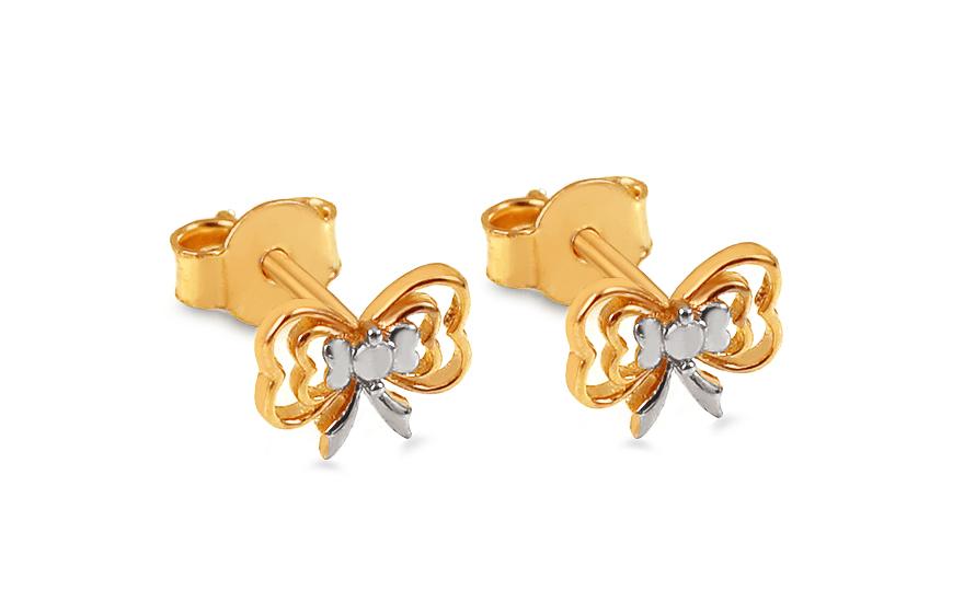 Zlaté náušnice pecky dvoubarevné mašličky IZ13431