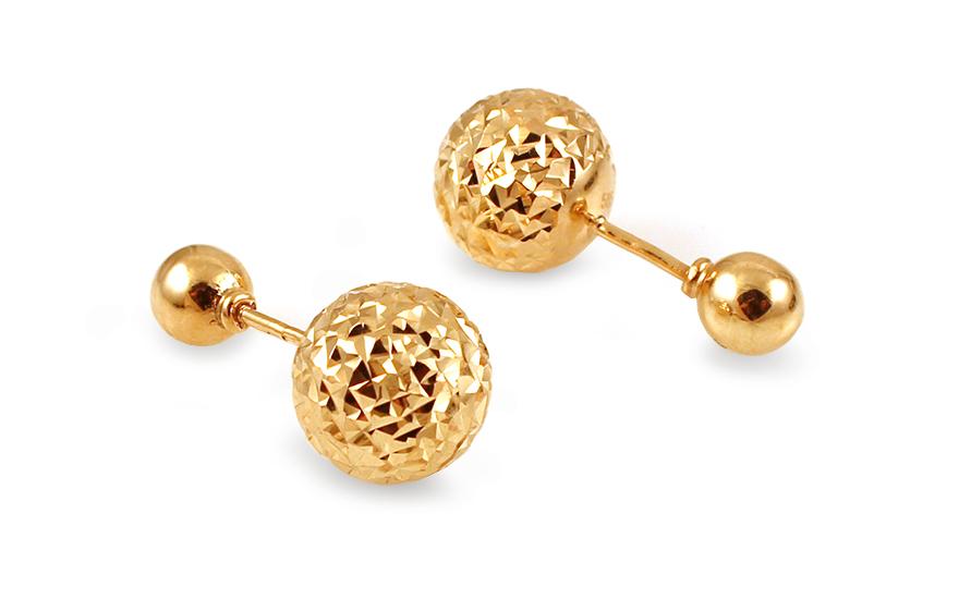 Zlaté náušnice pecky Balls s gravírováním IZ12232