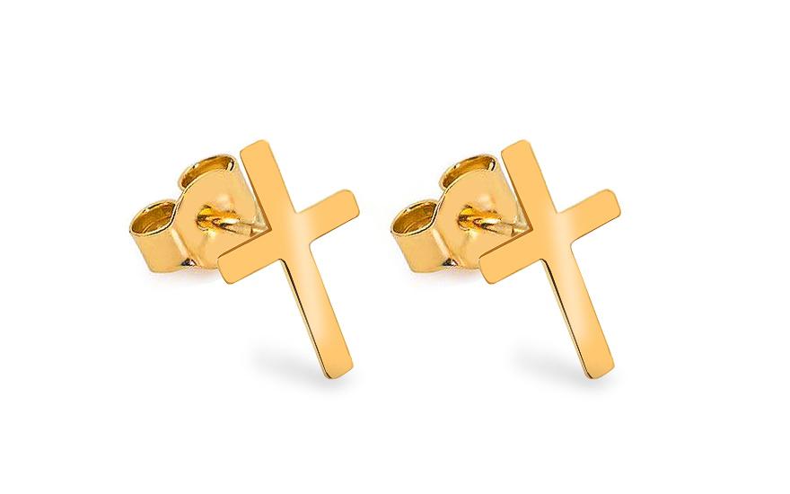 Zlaté náušnice pecky Celebrity křížky IZ13631
