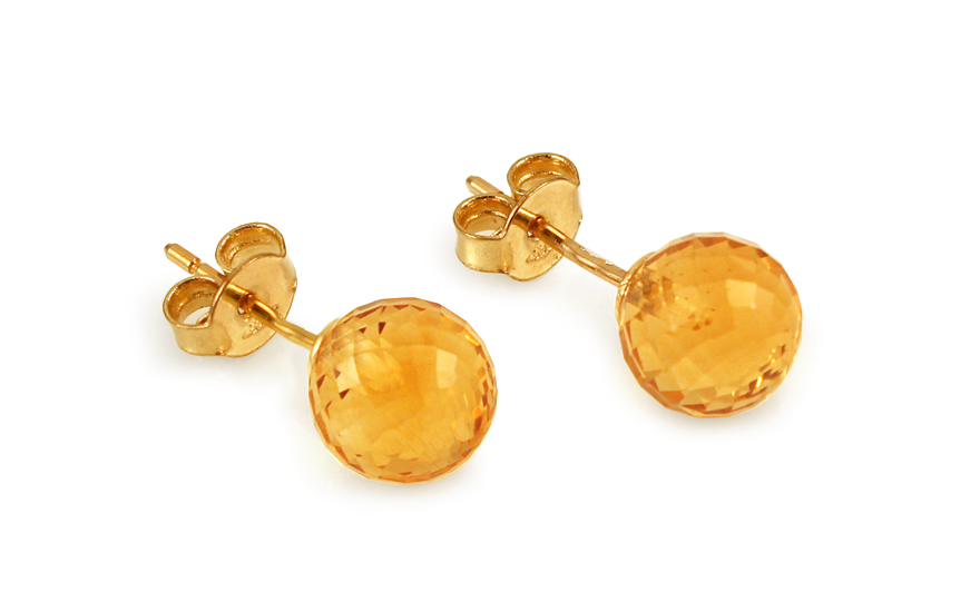 Zlaté náušnice pecky citrínové kuličky IZ10956