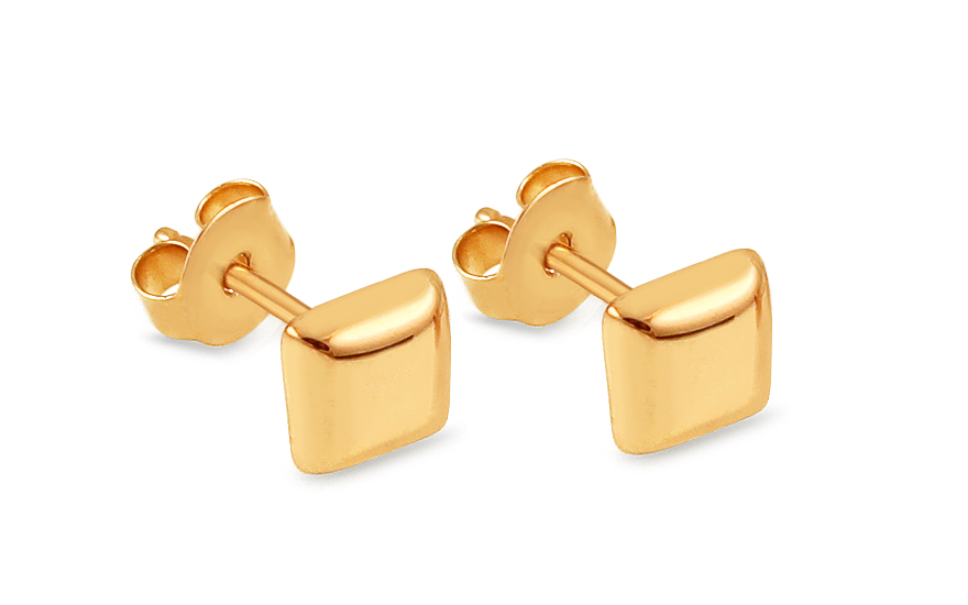 Zlaté náušnice pecky čtverečky IZ13117