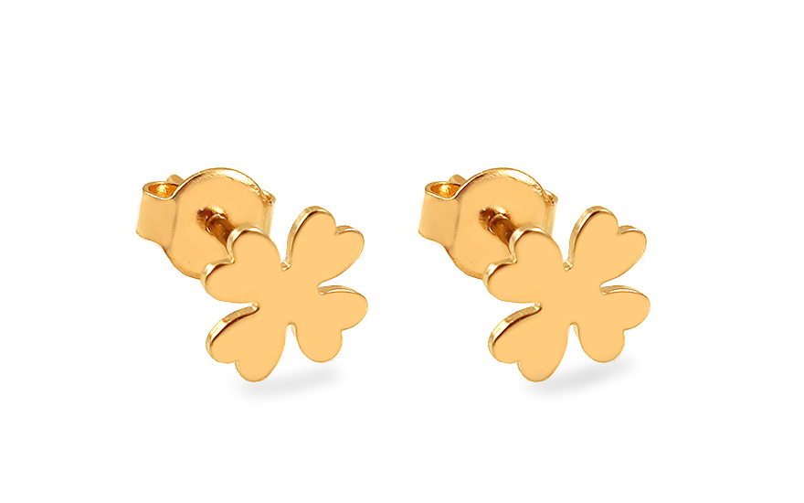 Zlaté náušnice pecky čtyřlístky IZ13428