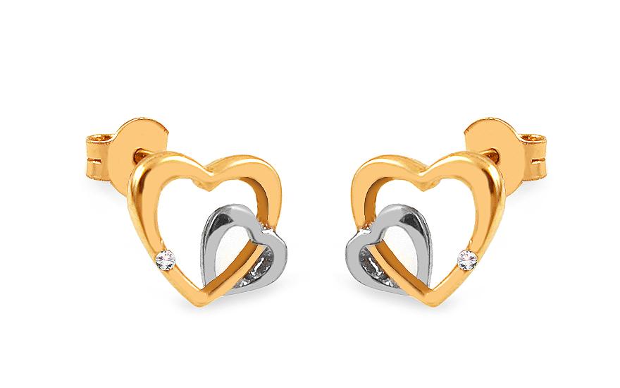 Zlaté náušnice pecky dvojité srdce se zirkony IZ13596