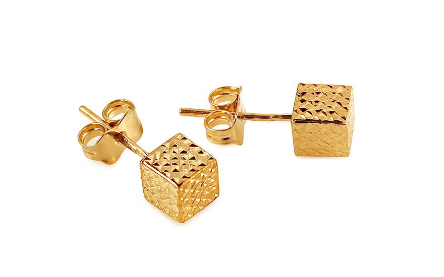 Zlaté náušnice pecky kostky IZ11645