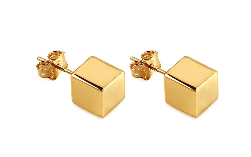 Zlaté náušnice pecky kostky 4f17afa2f05