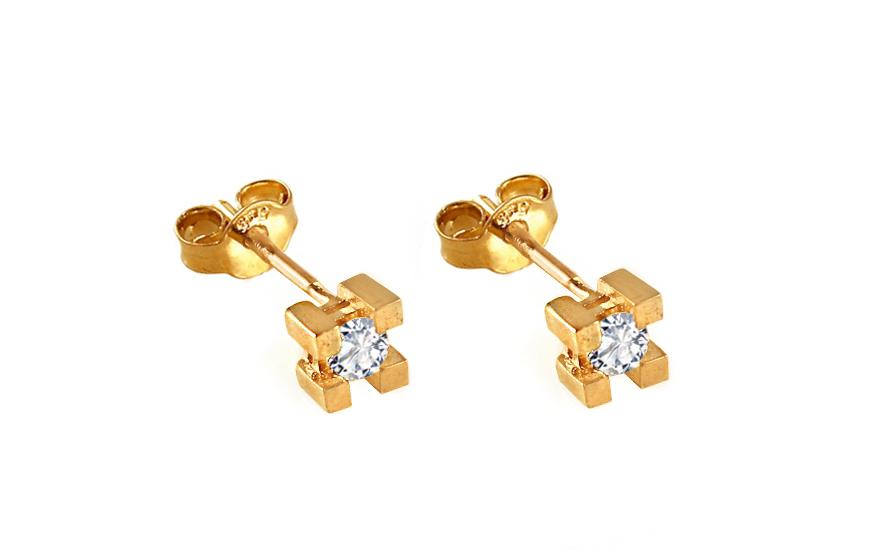 Zlaté náušnice pecky kostky se zirkony IZ9270