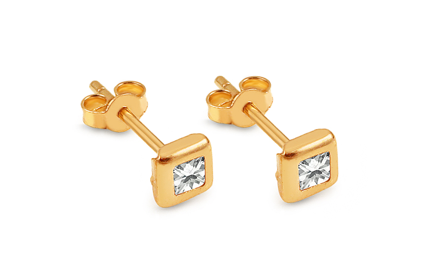 Zlaté náušnice pecky kostky se zirkony IZ13466
