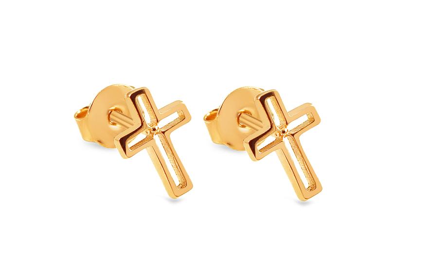 Zlaté náušnice pecky křížky IZ13913