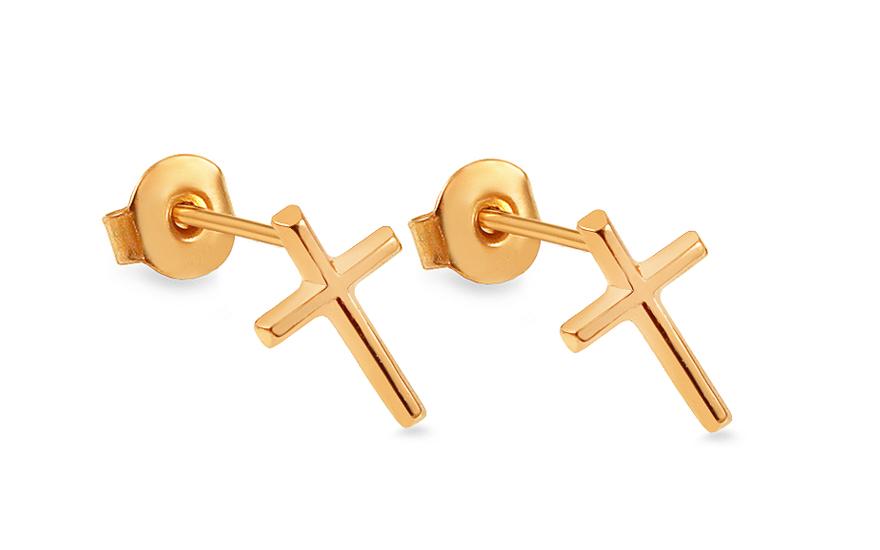 Zlaté náušnice pecky křížky IZ13935