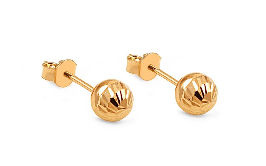 Zlaté náušnice pecky kuličky 6 mm gravírované IZ10407