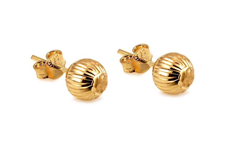 Zlaté náušnice pecky kuličky 7 mm gravírované IZ7209Y
