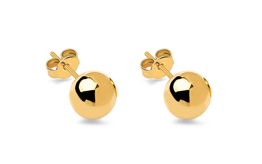 Zlaté náušnice pecky kuličky 7 mm hladké IZ10410