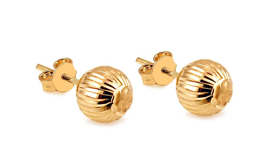 Zlaté náušnice pecky kuličky 8 mm gravírované IZ10405