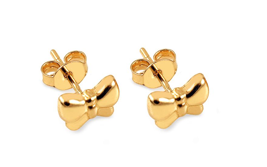 Zlaté náušnice pecky mašličky IZ12215