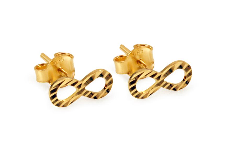 Zlaté náušnice pecky nekonečno s gravírováním IZ10811