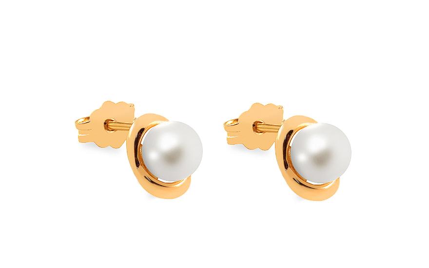 Zlaté náušnice pecky s perlou Parnella IZ12173