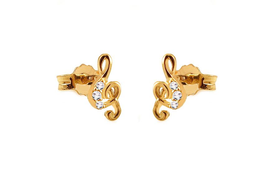 Zlaté náušnice pecky se zirkony Houslový klíč IZ11796