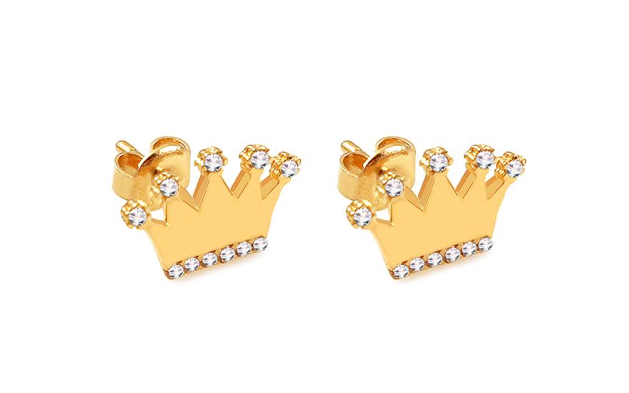 Zlaté náušnice pecky se zirkony Královská koruna IZ11798