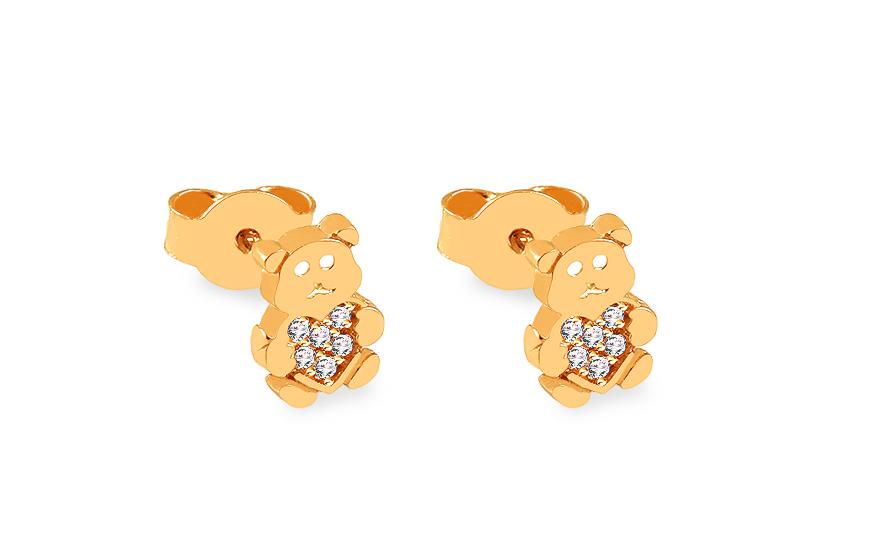 Zlaté náušnice pecky se zirkony Medvídek IZ12050