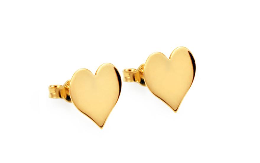 Zlaté náušnice pecky srdíčka IZ10769
