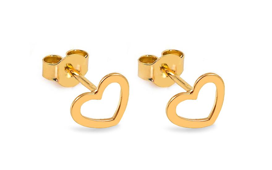 Zlaté náušnice pecky srdíčka IZ13706