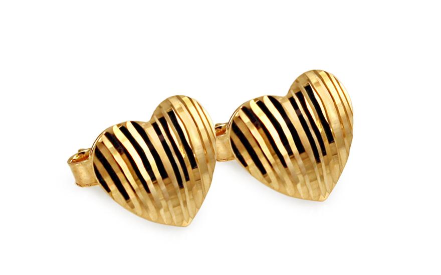 Zlaté náušnice pecky srdíčka s gravírováním IZ10808