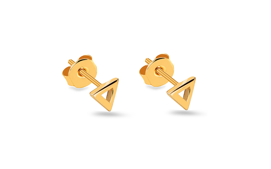 Zlaté náušnice pecky trojúhelníky IZ14158
