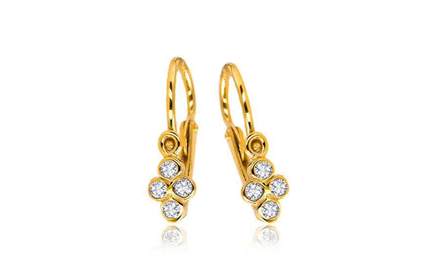 Zlaté náušnice pro miminka s kamínky 1-239-0136