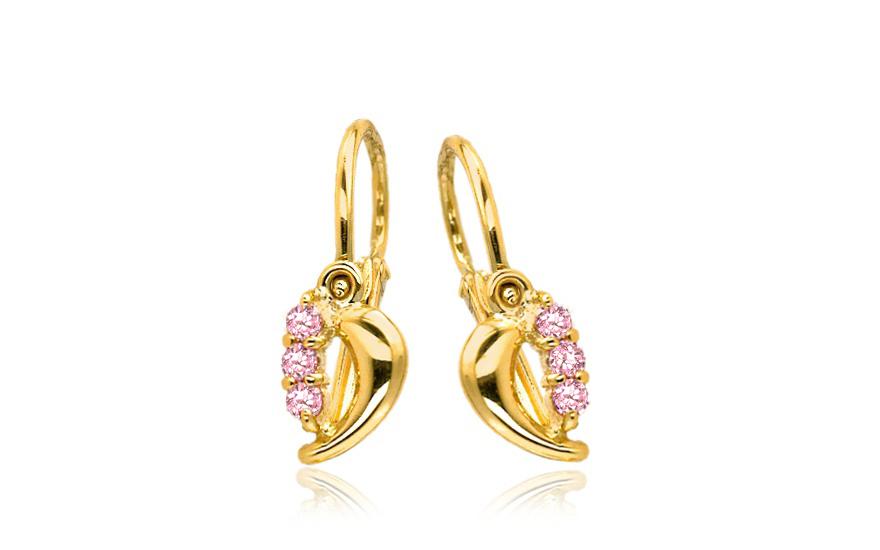 Zlaté náušnice pro miminka s růžovými zirkony 1-236-0439R