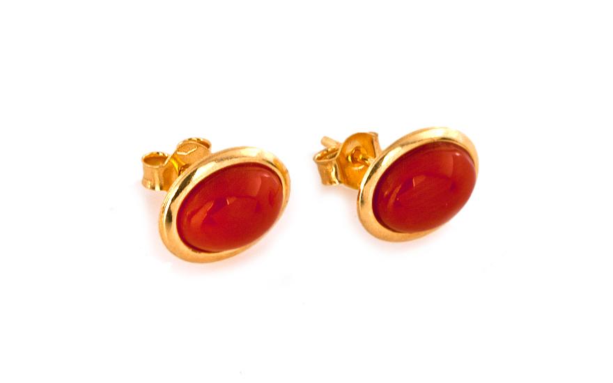 Zlaté náušnice s achátem orange IZ7211