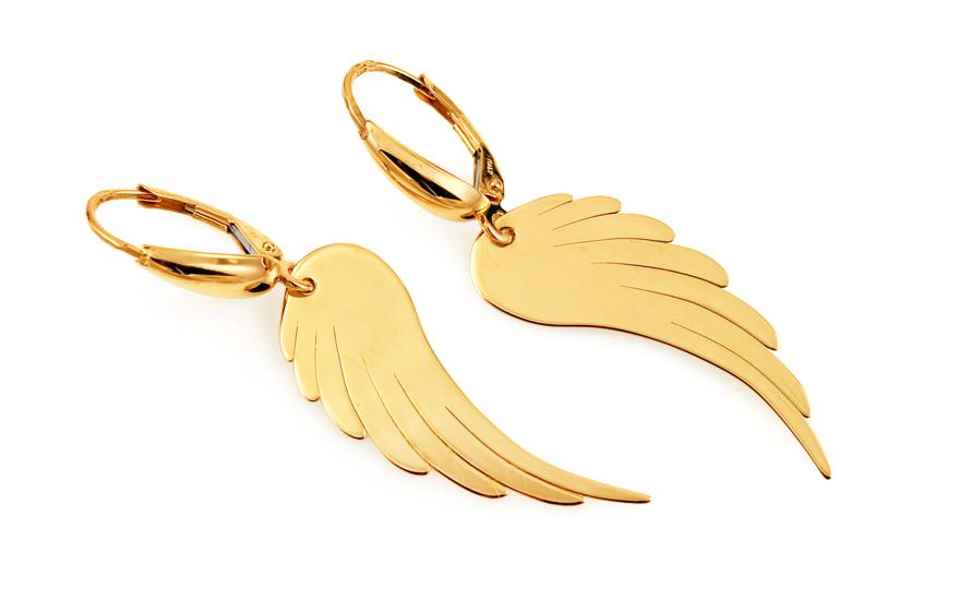 Zlaté náušnice s andělskými křídly IZ9094N