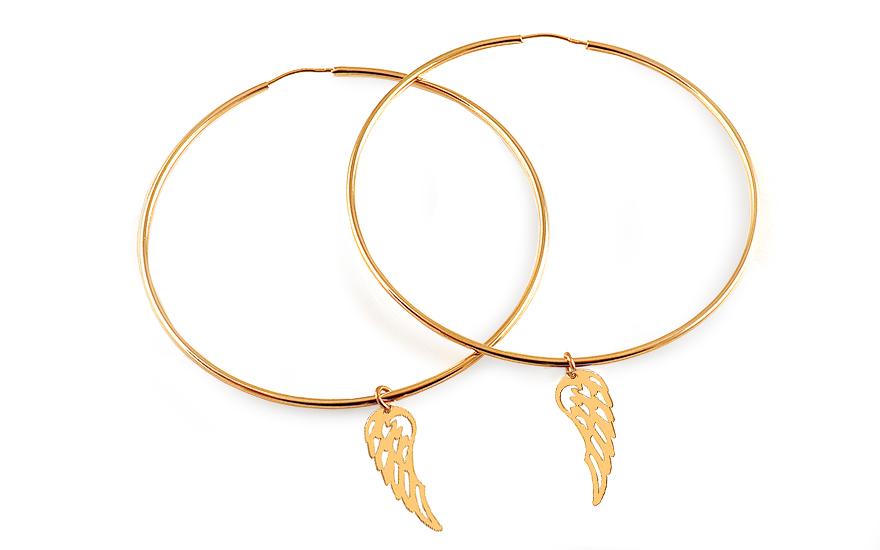 38a1c233c Zlaté náušnice s andělskými křídly kruhy 6 cm, pro ženy (IZ15935 ...